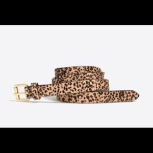 J Crew leopard calf hair skinny belt